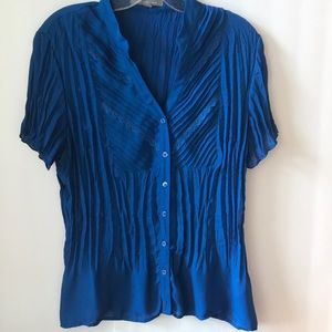 NY Collection Sheer Button Down Crinkle Top